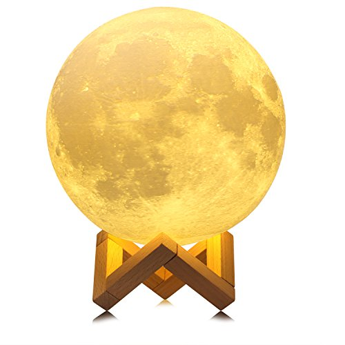 Extra Large!!! GPJOY 3D Moon Lamp Rechargeable Lunar Night Light Dimmable Touch Control Brightness Two Tone Home Decorative Lights Baby Night Light with Wooden Stand, Diameter 7.3 (Wooden Nursery Lamp)
