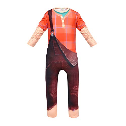 Kids Ralph Breaks The Internet Costume Cosplay Jumpsuit for Halloween Party (110CM) Orange -
