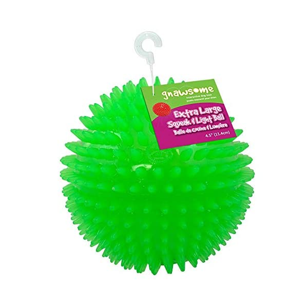 Gnawsome 4.5″ Spiky Squeak & Light Ball Dog Toy – Extra Large, Cleans teeth and Promotes Dental and Gum Health for Your Pet, Colors will vary