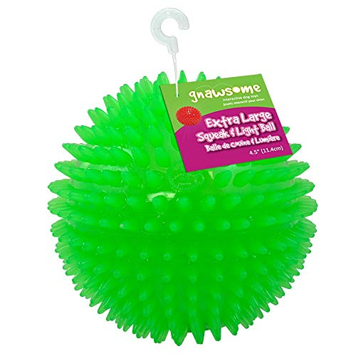 """Gnawsome 4.5"""" Spiky Squeak & Light Ball Dog Toy - Extra Large, Cleans teeth and Promotes Dental and Gum Health for Your Pet, Colors will vary"""