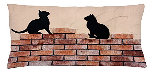 Lunarable Cat Throw Pillow Cushion Cover, Black Kittens on Red Brick Wall City Animals Urban Silhouettes Grunge Town Artistic Print, Decorative Square Accent Pillow Case, 36 X 16 Inches, Peach (Brick Furniture Fabrics City)