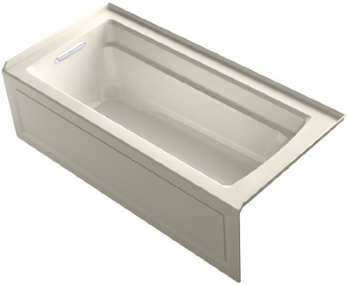 KOHLER K-1948-LA-47 Archer ExoCrylic 66-Inch x 32-Inch Three-Side Integral Flange Bath with Apron and Left-Hand Drain, ()