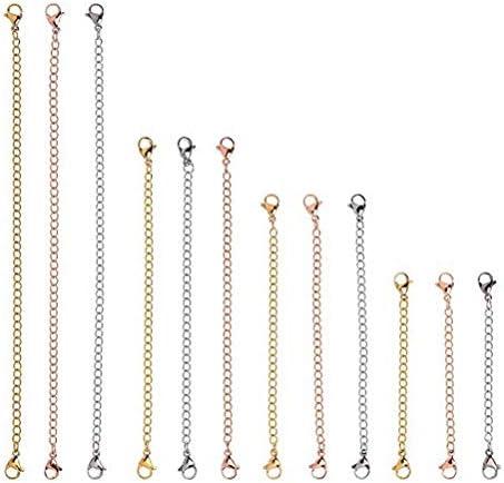 Supvox 12pcs Rose Gold Golden und Silber Halskette Extender mit Karabinerverschluss Halskette Verlängerungskette Edelstahl Armband Extender für DIY Schmuckherstellung