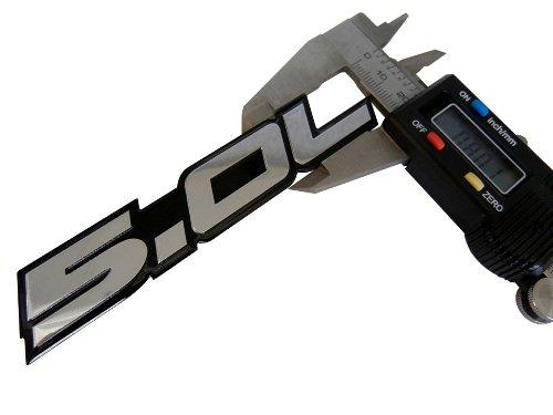 F 150 Cobra >> 5.0L Emblem in SILVER on BLACK Highly Polished Aluminum Silver Chrome Engine Swap Badge for Ford ...