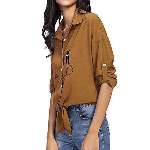 T Haut SANFASHION Femme Vtement Arc de Chat Noeud Mode Chic Imptime Manche Longue Chemise Shirt Or lgant Blouse qHwHr8E