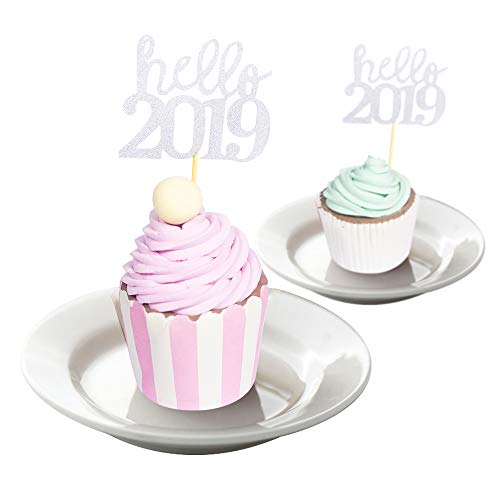 YOZATIA 2019 Graduation Cupcake Toppers Wrappers, 50PC Silver Food Picks for New Year Graduation Party Decorations - Assembled Finished
