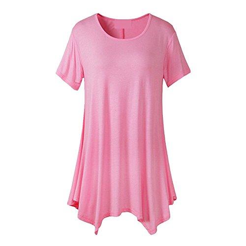 Juleya Donna Maglietta Maniche Corte Camicia Gotici Top Tunica Sciolto O Collo Camicette Lunghe Tinta Unita Vari Colori Dimensioni Rosa
