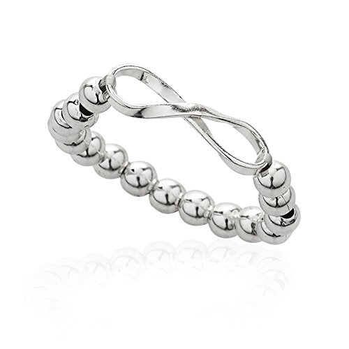 925 Sterling Silver Long Infinity Ball Bead Stretch Adjustable Ring, Sizes (Sterling Silver Stretch Ring)