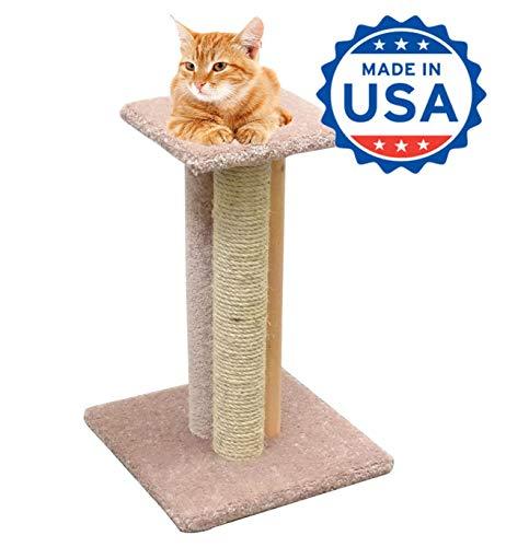 CozyCatFurniture 24 inches Wood Cat Scratching Post, Made in USA, Triple Cat Scratcher Perch, Beige Carpet