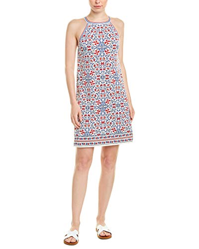 Max Studio Women's Border Crisscross Printed Matte Jersey Halter Dress, Cream/Blue/Red Viney Nouveau Flower, Small
