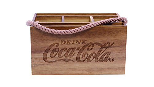 Tablecraft CC330 Coca-Cola Acacia Wood Caddy with Rope Handle, Wood (Cola Wooden Crate Coca)