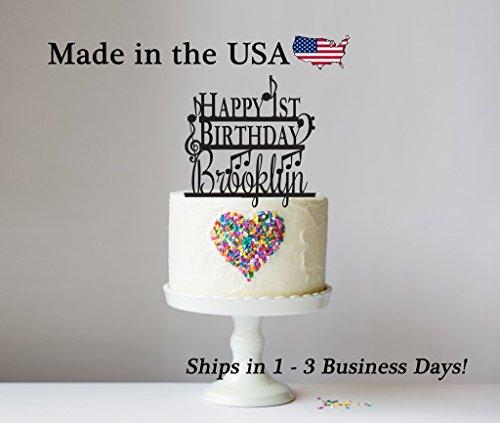Happy Birthday Music Notes - Happy Birthday Cake Topper with FREE Keepsake Base, Any Age, Cake Topper, Music, Musician, Musical Notes, Musical Instrument, Treble Base Clef, Personalized Keepsake