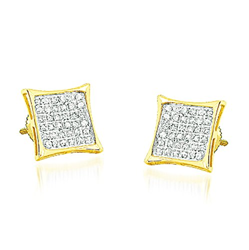 10K Yellow Gold Diamond Stud Earrings 9.5mm Wide 1/5cttw Kite Shaped Pave Set