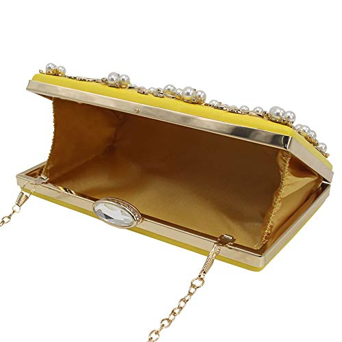 Flower Small Wallets Yellow Beaded Wedding Purse Women's Handbag Party Wocharm Clutches xq7BwEFfqO