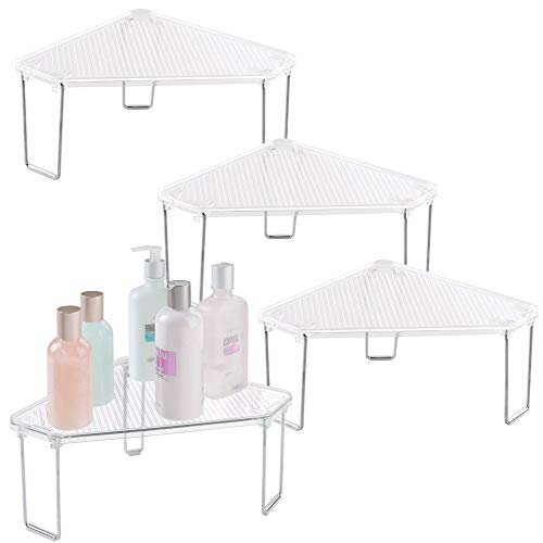 mDesign Corner Plastic/Metal Freestanding Stackable Organizer Shelf for Bathroom Vanity Countertop or Cabinet for Storing Cosmetics, Toiletries, Facial Wipes, Tissues, 4 Pack - Clear/Chrome
