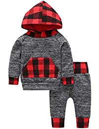 SUPEYA Baby Boys Plaid Sweatshirts Hoodie Top with Pocket Pants Outfit 2Pcs Set