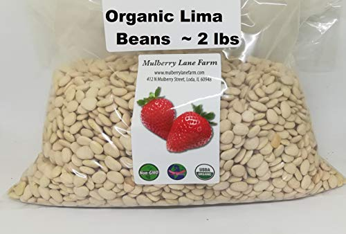 Lima Beans 2 Pounds Baby, Butter Beans USDA Certified Organic Non-GMO, Bulk