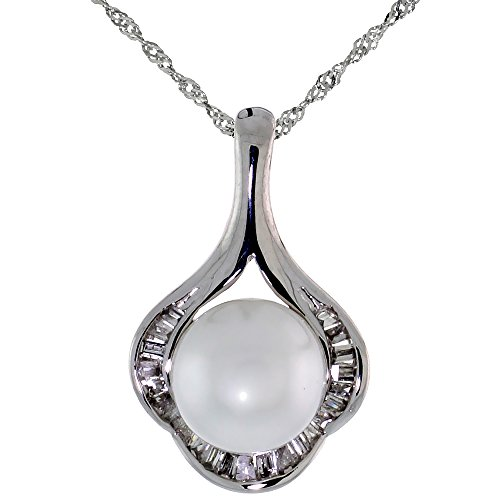 18k White Gold Pearl & Diamond Clover Pendant on 18 in. 14k White Gold Chain, w/ 0.10 Carat Baguette Diamonds, 5/8