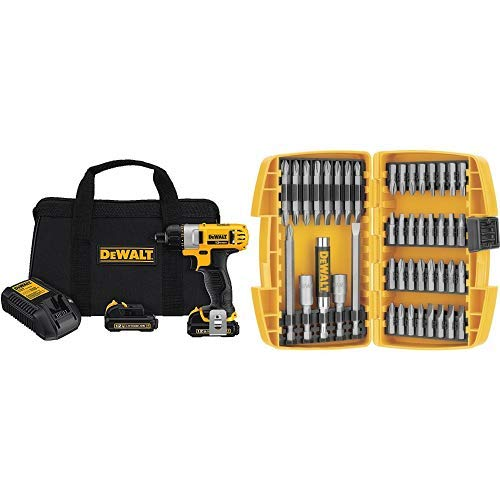 DEWALT DCF610S2 12-Volt Max 1/4-Inch Screwdriver Kit with DEWALT DW2166 45 Piece Screwdriving Set with Tough Case