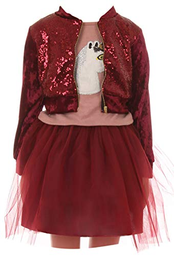 Big Girls' Sequin Jacket Tank Top Skirt Tulle 3 Pieces Party Clothing Set Burgundy 12 (J21KS51S)