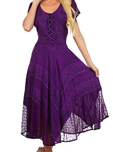 Sakkas 1322 - Sakkas Marigold Embroidered Fairy Dress - Purple - 1X/2X (Renaissance Dress Plus Size)