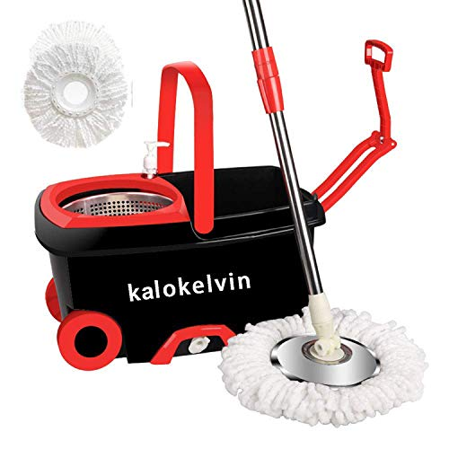 kalokelvin 360 Spin Mop Bucket with 2 Extra Microfiber Head Refills 2x Wheels 61inch Extended Handle Stainless Steel Drainage Basket for Home Floor Cleaning