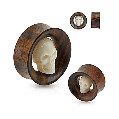 Pair Of Carved Skull Inside Organic Sono Wood Saddle Fit Tunnels, Gauge: 1
