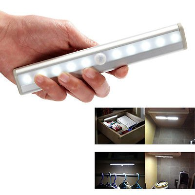 likecar 10 LED USB recargables Sensor Iluminación Interior Lámpara PIR automático tira de luz LED Sensor