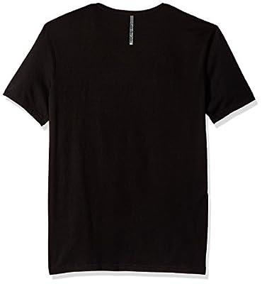 Calvin Klein Jeans Men's Short Sleeve Linear Metallic Logo V-Neck T-Shirt