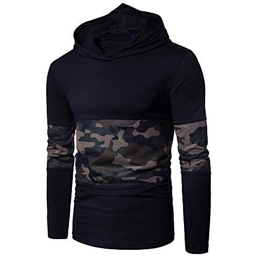 Litetao Men Long Sleeve Camouflage Hoodie Sweatshirt Pullover Hip Hop Outwear Blouse (M, Black)