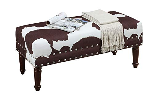 Convenience Concepts 163923BNFCH Designs4Comfort Bench with Nailheads, Brown Faux Cowhide by Convenience Concepts (Image #1)