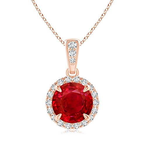 Claw-Set Ruby and Diamond Halo Dangle Pendant in 14K Rose Gold (7mm Ruby)