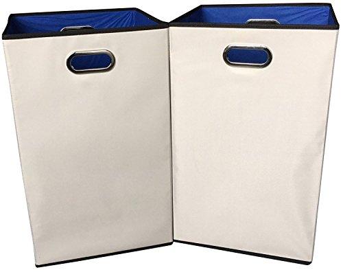 Sodynee 2-Pack 23' Closet Folding Laundry Clothes Hamper Sorter Basket Bin,Beige with Blue Interior