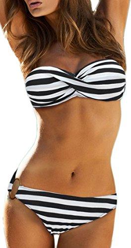 (Imilan Twist Bandeau Bikini Set Swimwear Swimsuit for Women (L, Black Stripe))