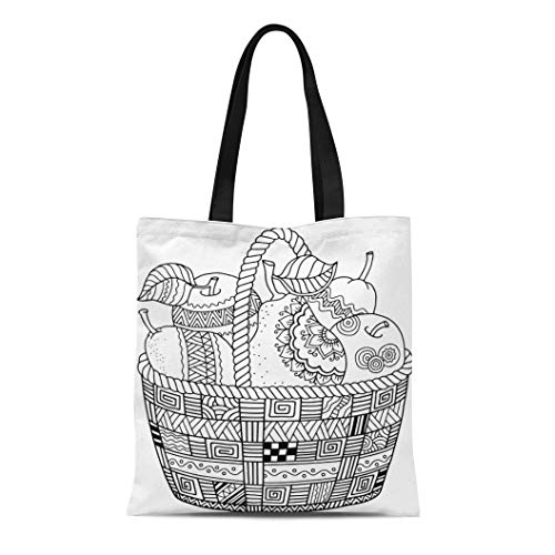 Semtomn Cotton Canvas Tote Bag Colorful Coloring Book for Adult Thanksgiving Day Basket Reusable Shoulder Grocery Shopping Bags Handbag - Basket Greetings Holiday Fruit