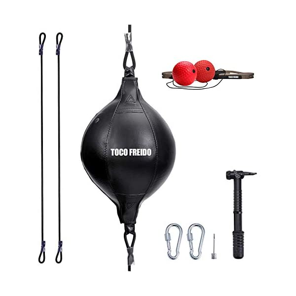 TOCO-FREIDO-Boxing-Ball-Speed-Training-Ball-Double-End-Punching-bag-with-2-Boxing-Reflex-Ball-Perfect-for-Gym-MMA-Boxing-Sports-Punch-Bag-Reaction-Agility-Punching-Speed-and-Hand-Eye-Training