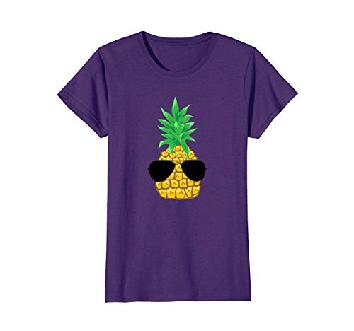 Womens Pineapple Wearing Sunglasses Shirt, Cute Fruit Foodie Gift XL - Wearing Sunglasses