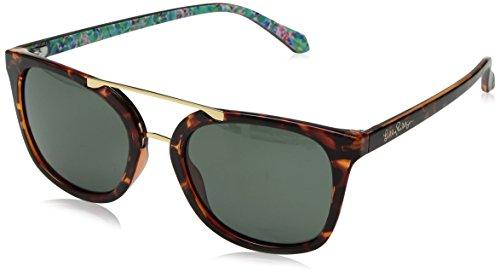 (Lilly Pulitzer Women's Emilia Polarized Aviator Sunglasses, Dark Tortoise, 53)