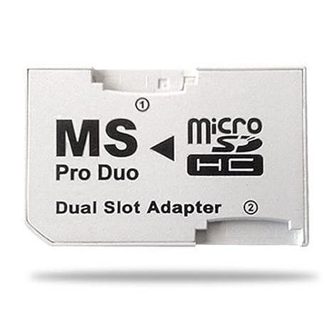 Demarkt Adaptador SDHC A MS Pro Duo Dual Slot (PSP) Adaptador de Tarjeta de Memoria MicroSD