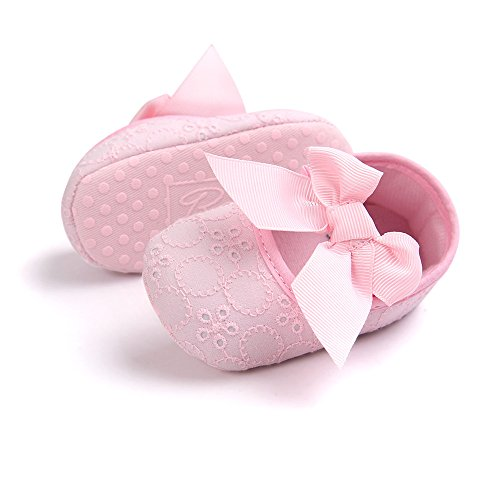 Bambina Con Rosa Mesi Principessa 3 Neonata Lacofia Morbida Battesimo 0 Scarpe Da Suola Per Ballerine Antiscivolo Bowknot RcqL354jA