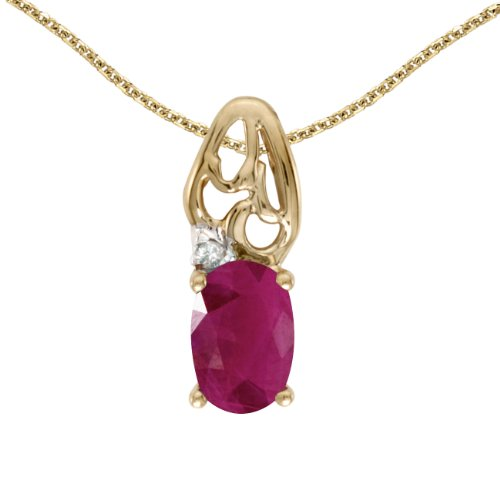 0.36 Carat (ctw) 14k Yellow Gold Oval Red Ruby and Diamond Women's Solitaire Pendant with 18