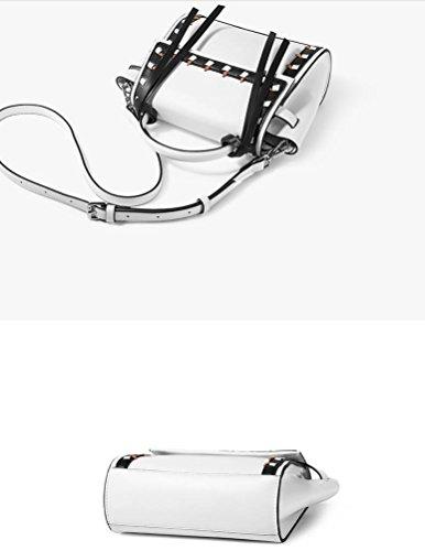 sac tressée bandoulière personnalité sac Dames à white sac Black main bandoulière sac à bandoulière réglable avec supérieure et détachable bandoulière d5qwXIIW