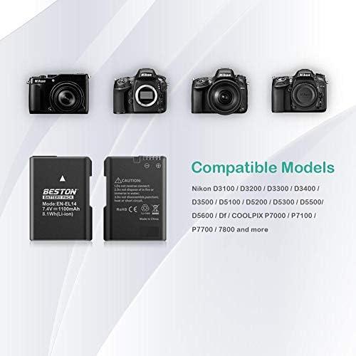 EN-EL14 EN-EL14A Bater/ía HOSAN para Nikon de 1200mAh de 2 Bater/ía Recargable Cpmpatible con EN-EL14 EN-EL14A Nikon D5600 D5500 D5300 D5200 D5100 D3500 D3400 D3300 D3200 D3100