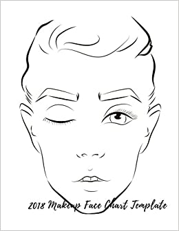 2018 Makeup Face Chart Template Female Faces Large Notebook Quel