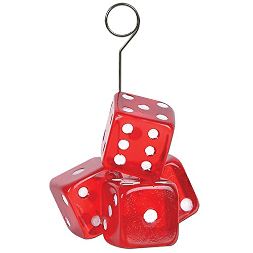 Pack of 6 Red and White Casino Night Dice Photo or Balloon Holder Party Decorations 6 oz. -