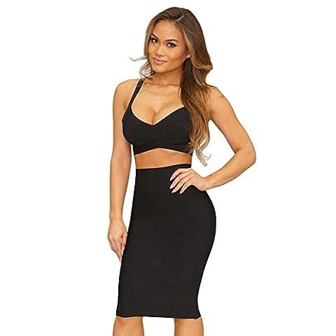 Whoinshop Womens Bodycon Bandage Skirt Set 2 Pieces Sleeveless Celebrity Dress Black S (Black Midi Set)