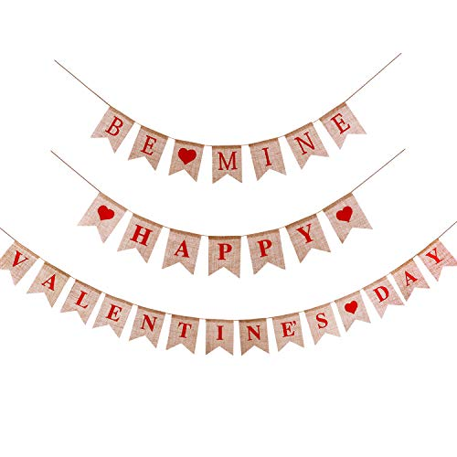 Jovitec Happy Valentine's Day Banner and Be Mine Banner Burlap Bunting for Valentine's Day Wedding Photo Prop Decoration, 2 Sets Totally