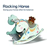 Gupamiga Rocking Horse Child Kids Ride on Toys Baby Rocking Horse Portable and Rocking Chair Baby Dining Table