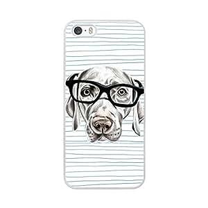 Funda carcasas TPU Gel para Apple iPhone SE perro con gafas borde blanco