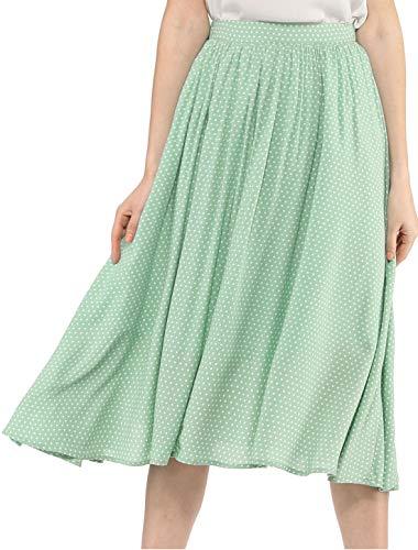 Allegra K Women's Elastic Waist Allover Dots A Line Midi Skirt L Light Green - Green Polka Dot Skirt
